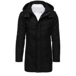 Čierny pánsky kabát s kapucňou vyobraziť