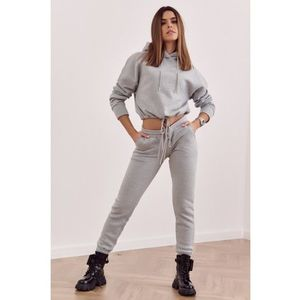 Štýlová mikina a nohavice s elastickým pásom, sivá vyobraziť