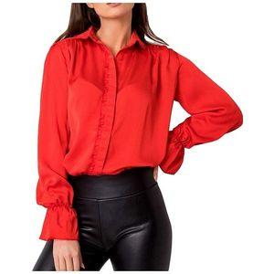 červená dámska lesklá košeĺa vyobraziť