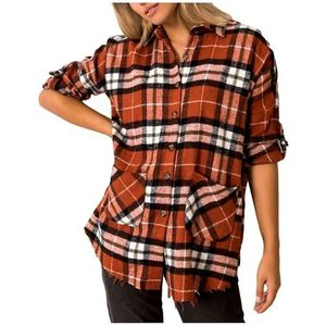 Hnedá dámska károvaná košeĺa vyobraziť