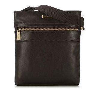 Hnedá kožená taška pre pánov. vyobraziť