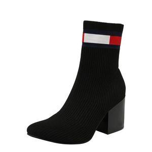 Tommy Jeans Členkové čižmy čierna / červená / biela vyobraziť