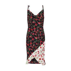 Missguided Letné šaty 'Floral Drape Neck Frill' červená / čierna / biela vyobraziť