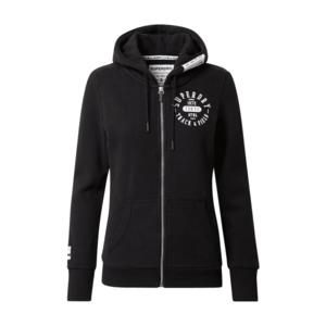 Superdry Tepláková bunda čierna / biela vyobraziť
