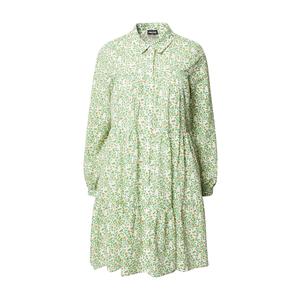 PIECES Košeľové šaty zelená / biela / oranžová vyobraziť