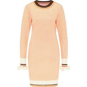 MYMO Pletené šaty oranžová / biela / čierna vyobraziť