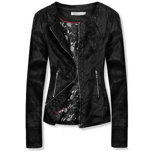 Čierna koženková bunda so vzorovanou podšívkou vyobraziť
