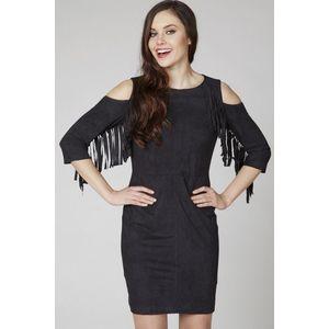Čierne semišové šaty ASU0022 vyobraziť