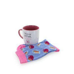 Set modro-ružové ponožky + biely hrnček vyobraziť