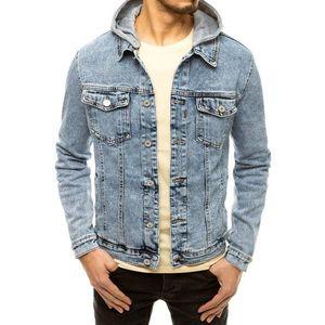 Modrá rifľová bunda s kapucňou. vyobraziť