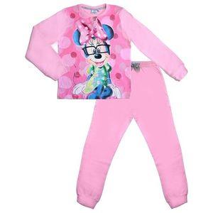 Dievčenské svetloružové dlhé pyžamo s minnie vyobraziť