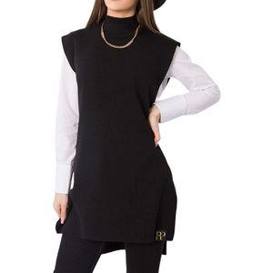 čierny dlhý pulóver bez rukávov vyobraziť