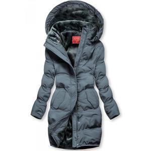 Sivá zimná bunda s plyšovou podšívkou vyobraziť