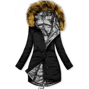 Čierno-strieborná obojstranná zimná bunda vyobraziť