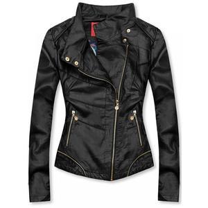 Čierna krátka koženková bunda vyobraziť