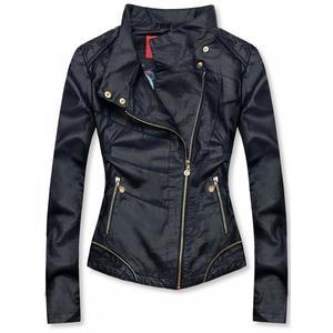 Tmavomodrá krátka koženková bunda vyobraziť
