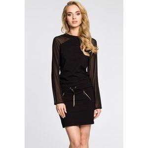Čierne mini šaty s dlhými rukávmi - S vyobraziť