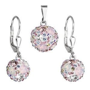 Sada šperkov s krištáľmi Swarovski náušnice a prívesok ružové okrúhle 39072.3 vyobraziť