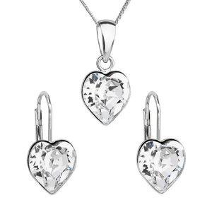 Sada šperkov s krištáľmi Swarovski náušnice, retiazka a prívesok biele srdce 39141.1 vyobraziť