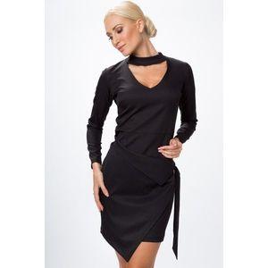 Asymetrické, zavinovacie šaty s chorekom a dlhým rukávom, čierne vyobraziť