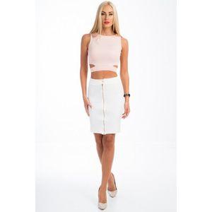 Komplet sukne a crop topu s výrezmi, smotanový vyobraziť