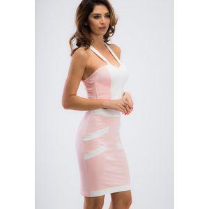 Jasnoružovo- krémový komplet, sukňa, crop top vyobraziť