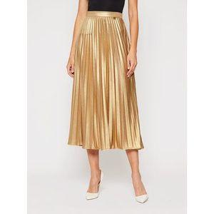 TwinSet Plisovaná sukňa 202TT2196 Zlatá Regular Fit vyobraziť