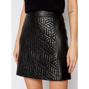 Tommy Hilfiger Kožená sukňa Quilted WW0WW28678 Čierna Regular Fit vyobraziť