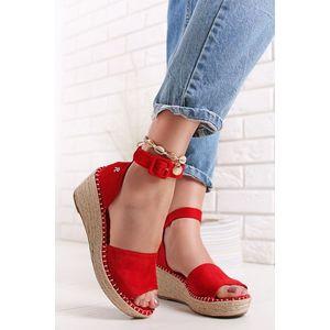 Červené semišové platformové sandále 72694 vyobraziť