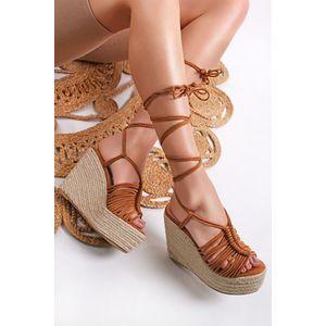 Škoricové šnurovacie platformové sandále Casia vyobraziť