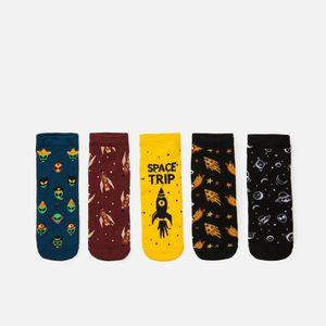 Cropp - Súprava 5 párov ponožiek s potlačou - Žltá vyobraziť