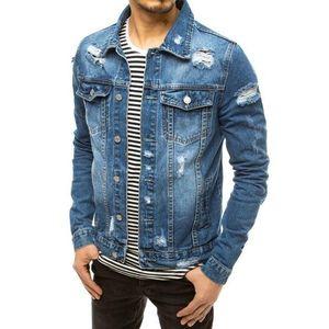 Pánska modrá rifľová bunda. vyobraziť