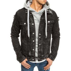 Trendová čierna rifľová bunda vyobraziť