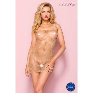 Béžové sexi sieťované šaty CA001 vyobraziť