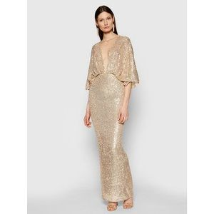 Elisabetta Franchi Večerné šaty AB-014-11E2-V560 Zlatá Slim Fit vyobraziť