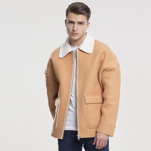 Urban Classics Bonded Oversized Sherpa Jacket camel - L vyobraziť