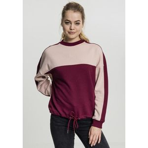 Urban Classics Ladies Oversize 2-Tone Stripe Crew port/light rose - S vyobraziť