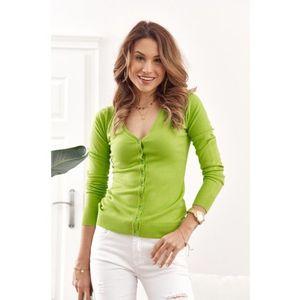 Tenký dámsky sveter zapínaný na gombíky s výstrihom, zelený vyobraziť