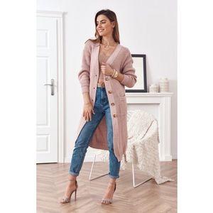 Dlhý teplý sveter so zapínaním na gombíky, ružový vyobraziť