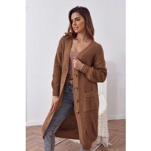 Dlhý teplý sveter so zapínaním na gombíky, hnedý vyobraziť