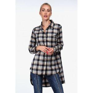 Flanelová košeľa asymetrického strihu, béžová vyobraziť