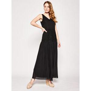 Trussardi Večerné šaty Crepe/Lace 56D00331 Čierna Regular Fit vyobraziť