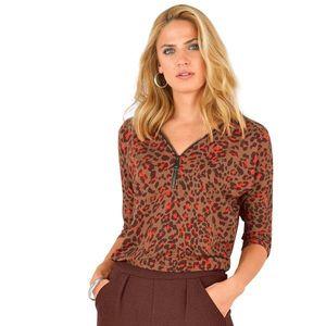Tričko s potlačou zvieracej srsti a zips potlač karamelová 34/36 vyobraziť