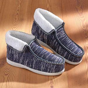 Tmavomodré domáce papuče vyobraziť