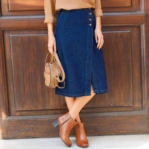 Puzdrová džínsová sukňa tmavomodrá 38 vyobraziť