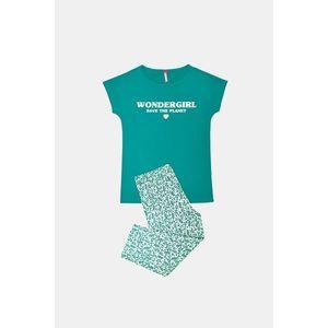 Dievčenské pyžamo Save planet zelené vyobraziť