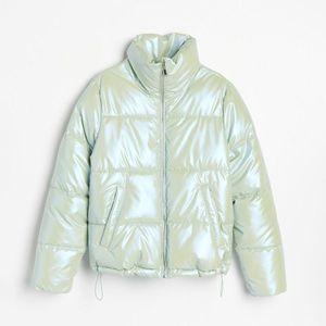 Reserved - Pufovaná bunda s holografickou povrchovou úpravou - Zelená vyobraziť