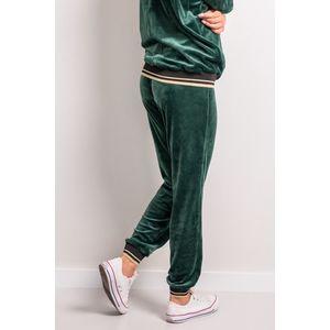 Zelené velúrové teplákové nohavice so zlatým lemovaním 142-03 vyobraziť