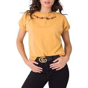 žlté tričko s kvetinovou výšivkou vyobraziť