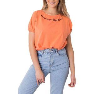 Oranžové tričko s kvetinovou výšivkou vyobraziť